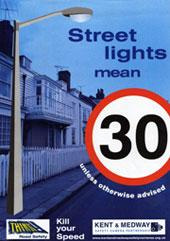 Street lights mean 30mph poster