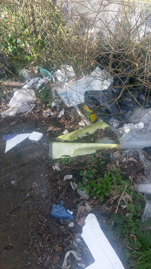 Flytipped footpath