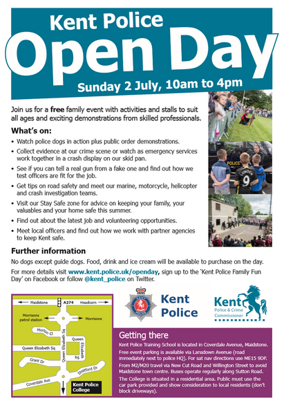 Kent Police Open Day 2017 poster