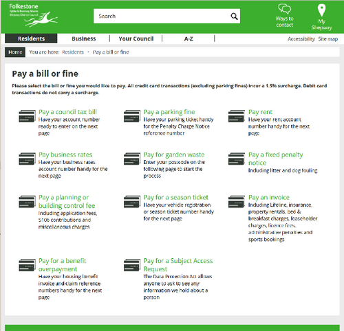 Shepway DC website bill payments screen screenshot