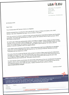 Page 1 of letter to Folkestone & Hythe residents about Damian Collins