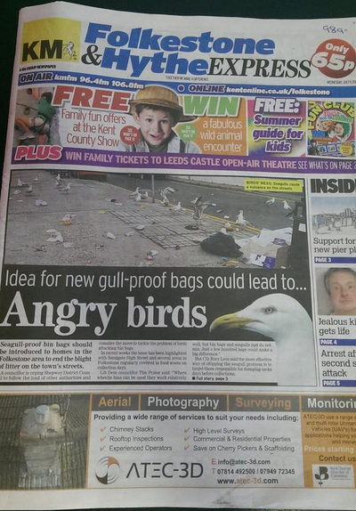 KM Express front page on seagulls