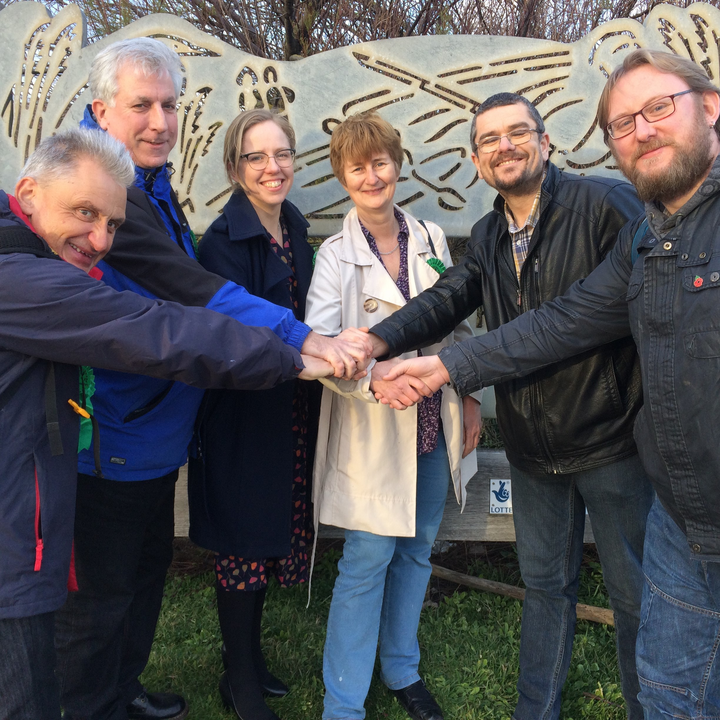 Green Council candidates 2019 John Wing, Doug Wade, Georgina Treloar and Lesley Whybrow and Lib dem candidates Tim Prater and Gary Fuller