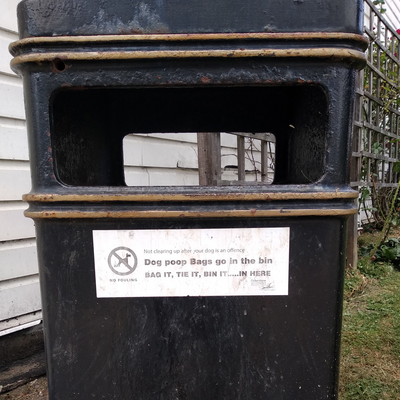Sandgate Street Waste Bin with Dog Waste Sticker