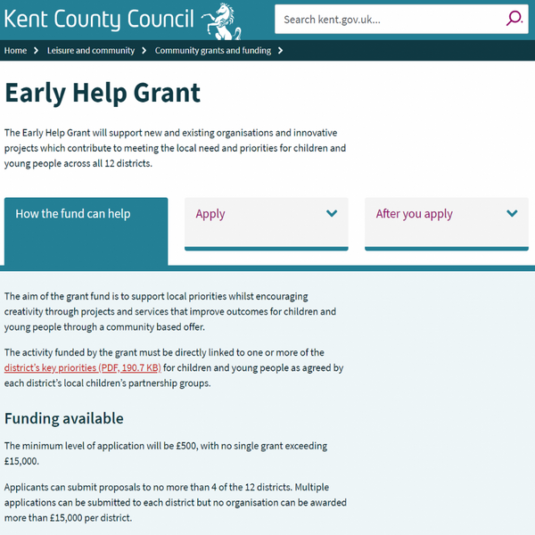 Kent County Council Early Help Grants