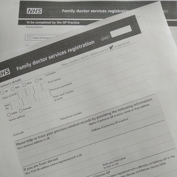 NHS GP Registration forms