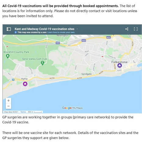 Folkestone and Hythe Covid-19 Vaccination Centres